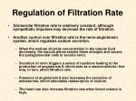 regulation of filtration rate