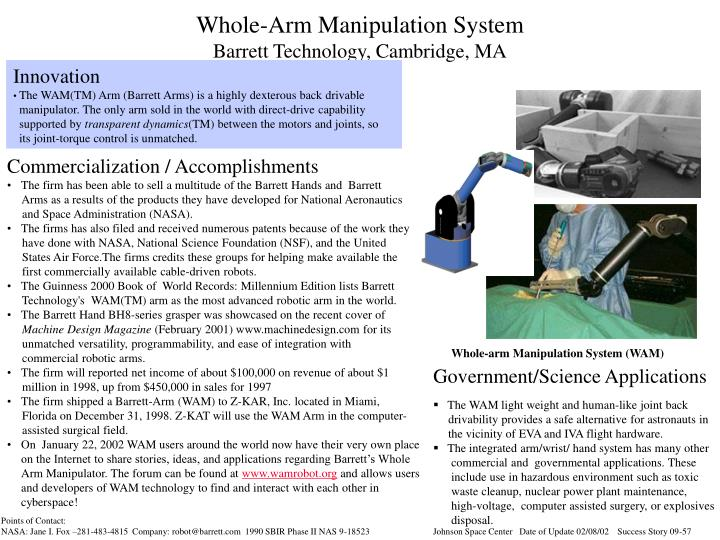 whole arm manipulation system barrett technology cambridge ma n.