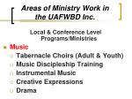 areas of ministry work in the uafwbd inc17