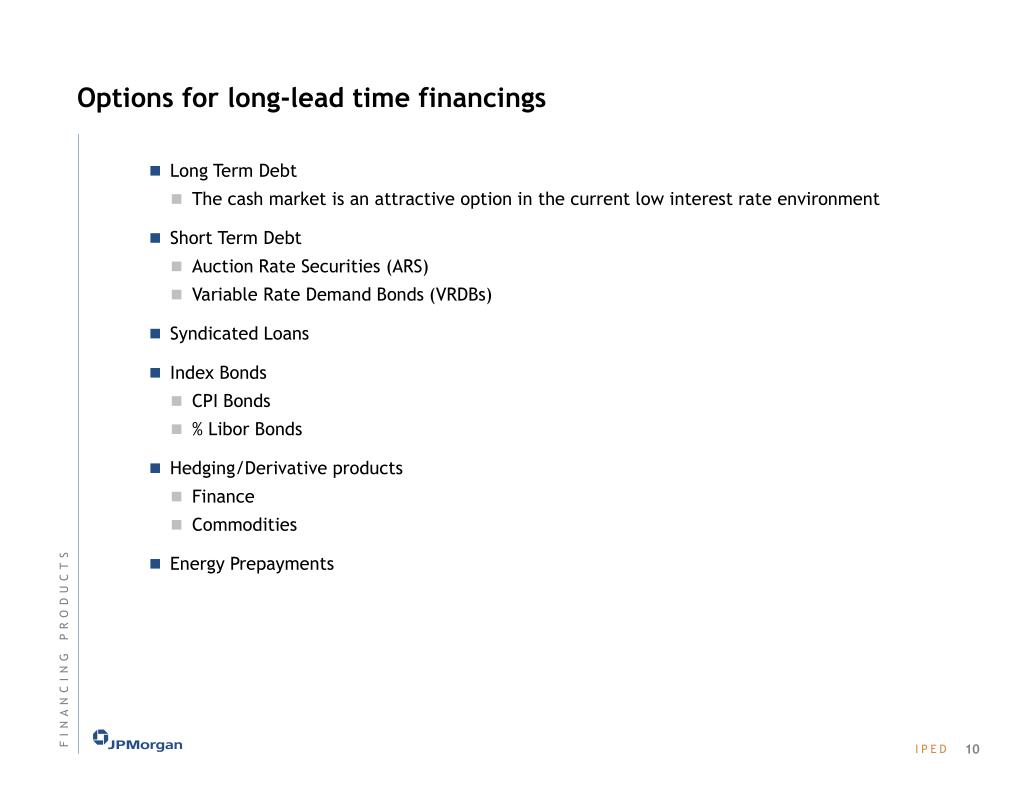 Options for long-lead time financings
