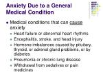 anxiety due to a general medical condition13