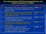 the linkage between ntb development missions and global commitment of mdgs