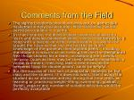 comments from the field19