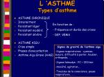 l asthme types d asthme