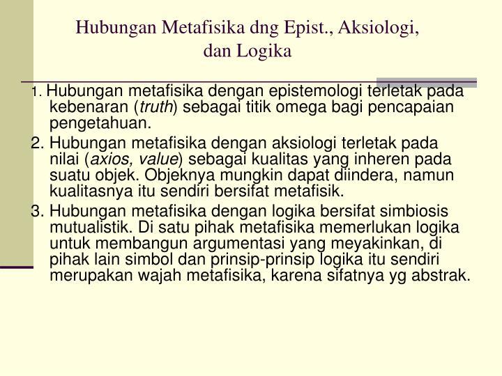 Hubungan Metafisika dng Epist., Aksiologi,