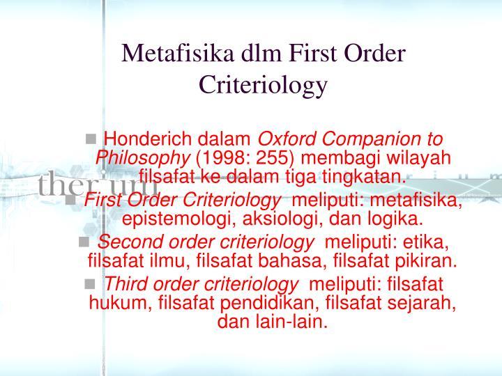 Metafisika dlm first order criteriology