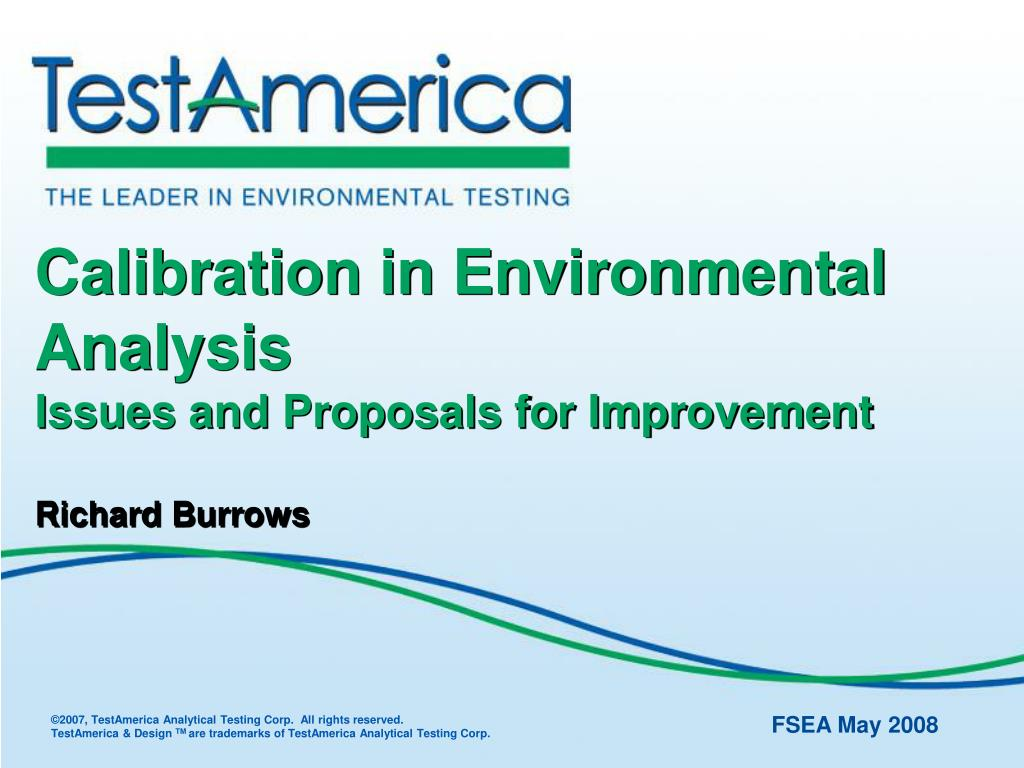 calibration in environmental analysis issues and proposals for improvement richard burrows l.