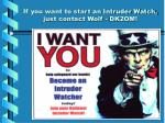 if you want to start an intruder watch just contact wolf dk2om