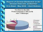 reports of german bandwatch to the german telecoms authorities 10 m band may 2008 illicit stations