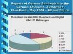 reports of german bandwatch to the german telecoms authorities 15 m band may 2008 bc and digital