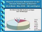reports of german bandwatch to the german telecoms authorities 20 m band may 2008 bc and digital