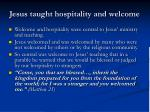 jesus taught hospitality and welcome