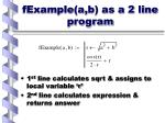 fexample a b as a 2 line program
