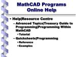 mathcad programs online help