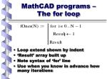mathcad programs the for loop