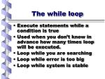 the while loop
