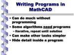 writing programs in mathcad