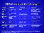 gold guidelines classifications