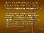 back to the proposed steps to follow in review of a disclosure