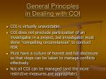 general principles in dealing with coi
