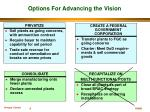 options for advancing the vision