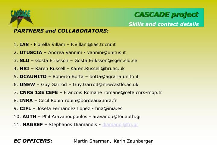 Skills and contact details