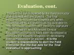 evaluation cont