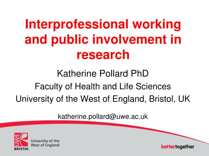 interprofessional working and public involvement in research n.