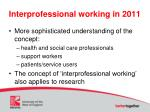 interprofessional working in 2011