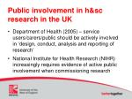 public involvement in h sc research in the uk