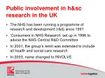 public involvement in h sc research in the uk1