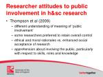 researcher attitudes to public involvement in h sc research