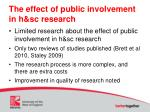 the effect of public involvement in h sc research