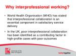why interprofessional working