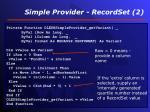 simple provider recordset 2