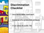 discrimination checklist
