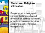 racial and religious vilification