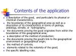 contents of the application