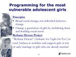 programming for the most vulnerable adolescent girls