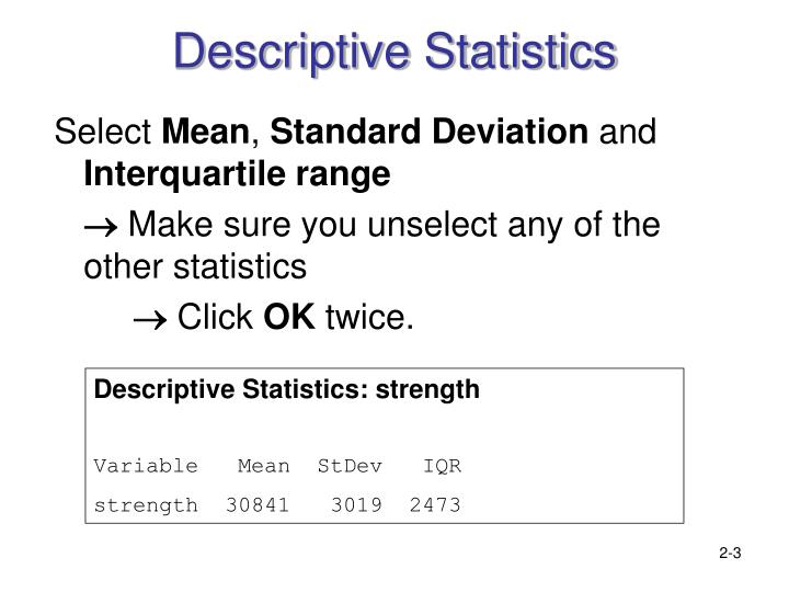 meaning of descriptive statistics essay Descriptive statistics are statistics that describe the central tendency of the data, such as mean, median and mode averages variance in data, also known as a.