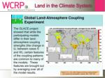 land in the climate system