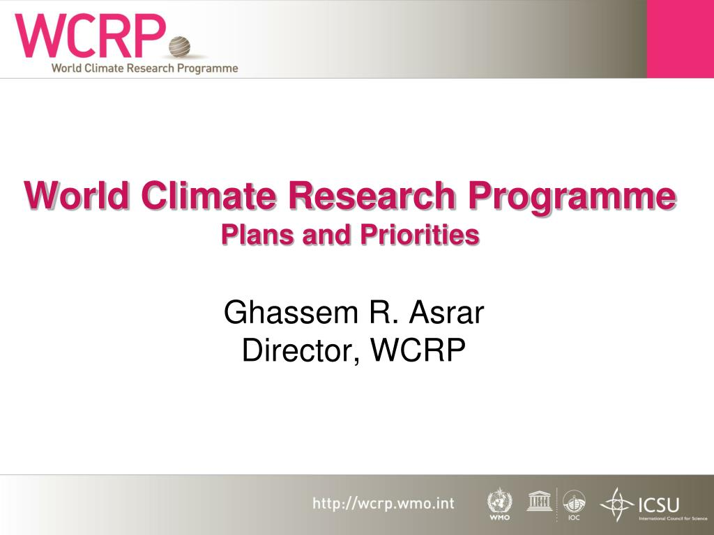 world climate research programme plans and priorities l.