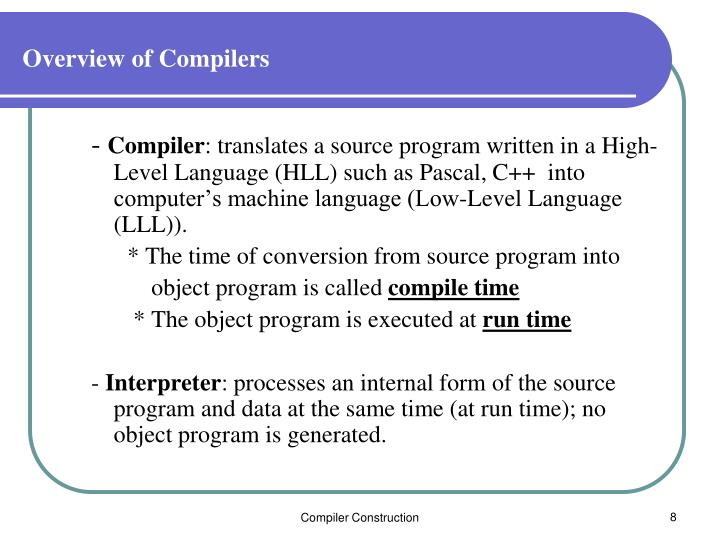 Overview of Compilers