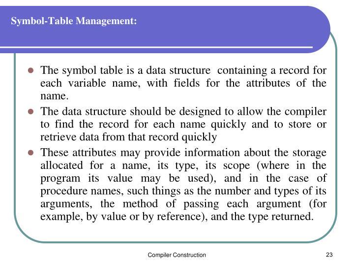Symbol-Table Management: