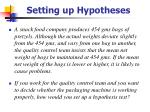setting up hypotheses