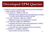 developed epm queries