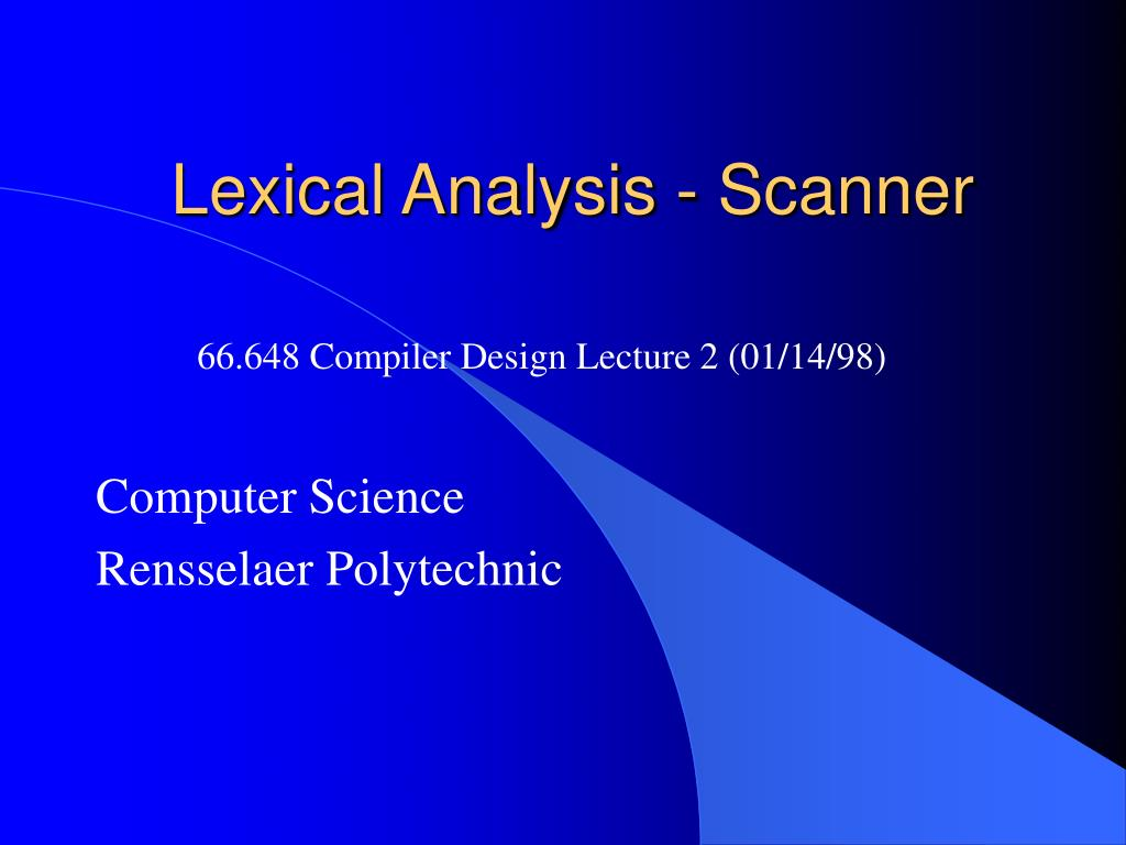 lexical analysis scanner l.