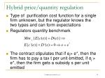 hybrid price quantity regulation