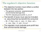 the regulator s objective function
