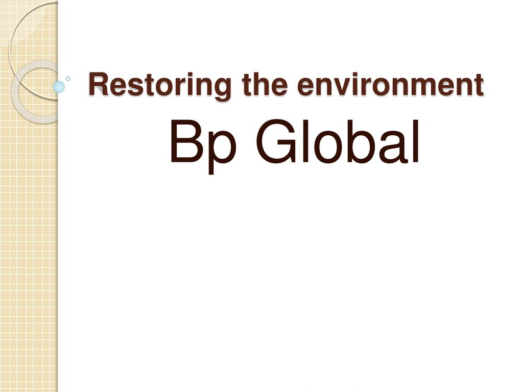 restoring the environment l.